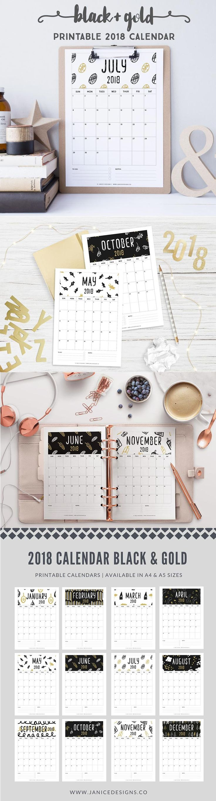 2018 Printable Calendar: Black & Gold