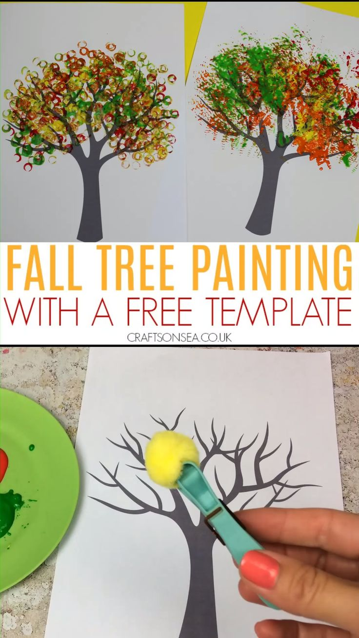 Fall tree painting craft for kids with a free printable