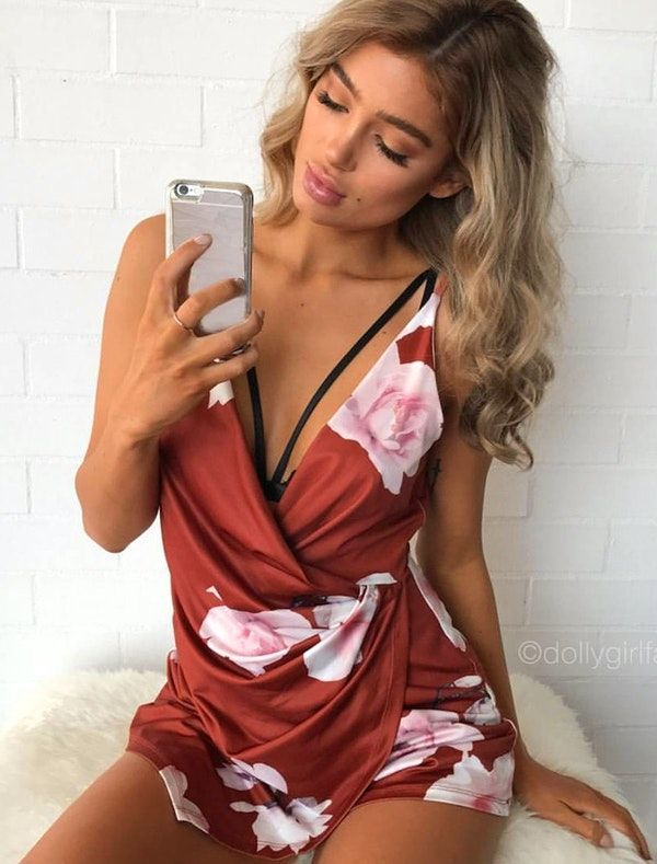 c47ae22fe5  spring  outfits Rosey Floral CRANBERRY PLAYSUIT ❀