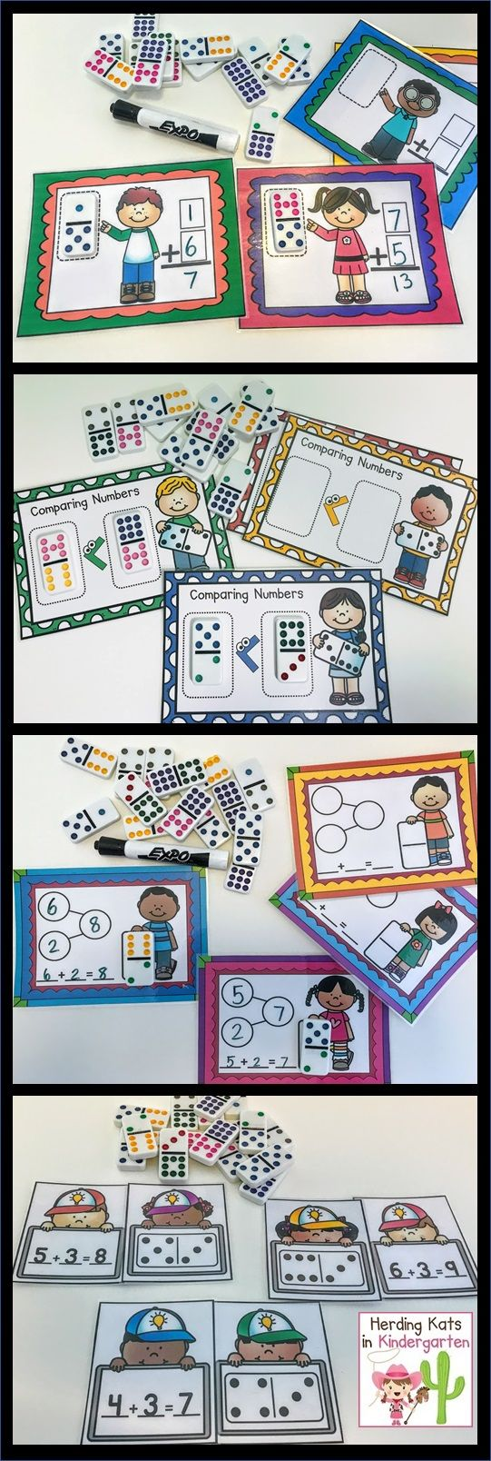 Domino Math Activity Pack! Lots of activities and no prep printables to use with dominoes for subitizing, addition, number sense, place value and more!