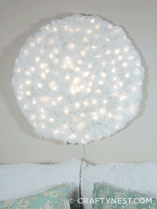 Coffee filter Snowball wall light tutorial -using wire mesh, coffee filters & a string of LED (Christmas) lights - try doing it in shape of Christmas tree, Easter bunny/egg, shamrock, heart, daisy, hot air balloon, with colored lights, try dying the coffee filters, attach wire mesh inside picture frame & do abstract design ...