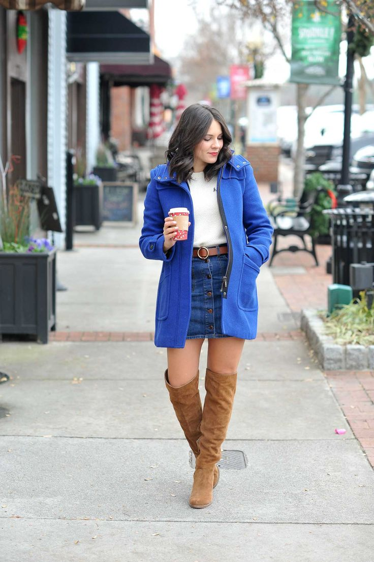 Hmm.. Embroidered Madewell Hmm Sweater - My Style Vita. White embroidered sweater+denim skirt+camel suede over the knee boots+blue wool coat+brown belt. Winter Casual Outfit 2017