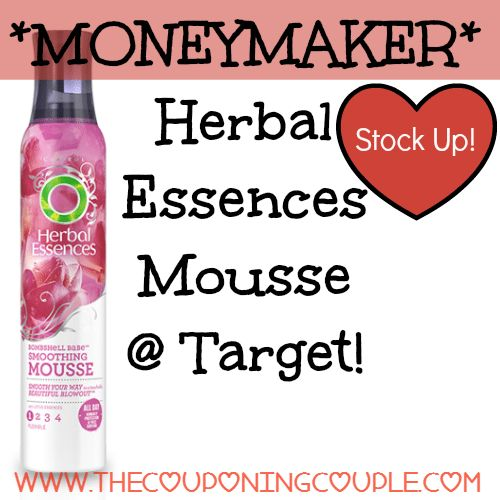 ~*~ Stock up! ~*~ MONEYMAKER Herbal Essences Mousse @ Target!  Click the link below to get all of the details ► http://www.thecouponingcouple.com/moneymaker-herbal-essences-mousse-target/ #Coupons #Couponing #CouponCommunity  Visit us at http://www.thecouponingcouple.com for more great posts!