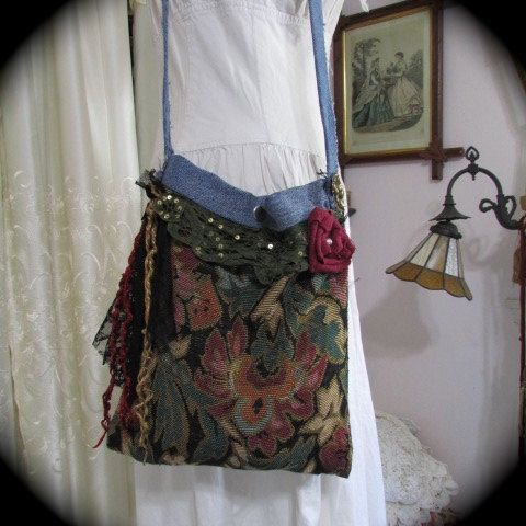 Tapestry Fabric Bag, handmade hippie style with upcycled denim, green natural earth tones, lace embellished shoulder bag, SMALL