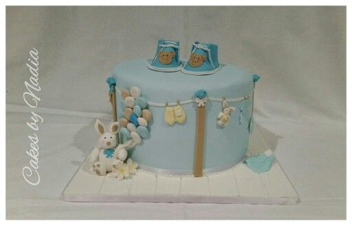 Cake for a baby boy from Cakes by Nadia in Cape Town. Inspired by Barbara Lurashi from Sweet Janis Sugar Art.