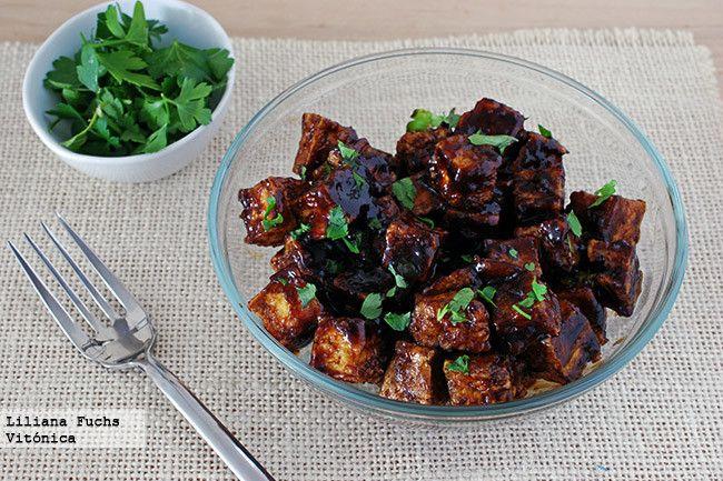 Tofu crujiente al horno con salsa de soja y miel | Receta saludable