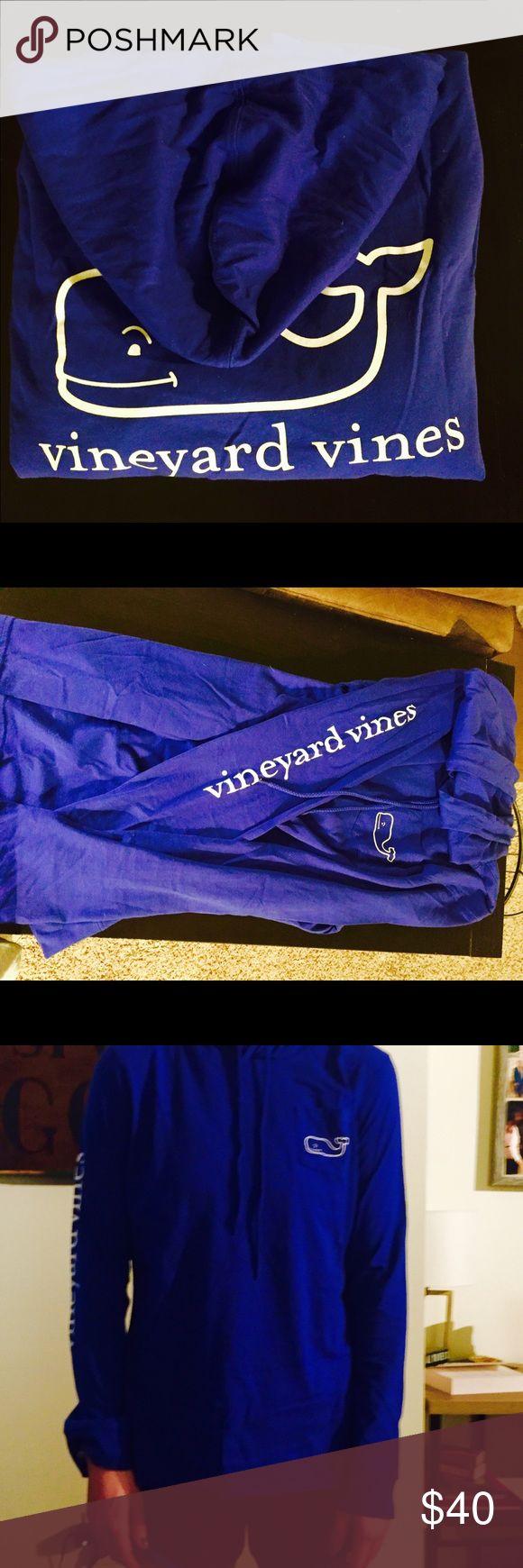 NWOT- Vineyard Vines tshirt hoodie Bright blue never worn Women's Vineyard Vines hooded shirt, pull string, front pocket, lightweight perfect for the beach! Vineyard Vines Tops Sweatshirts & Hoodies