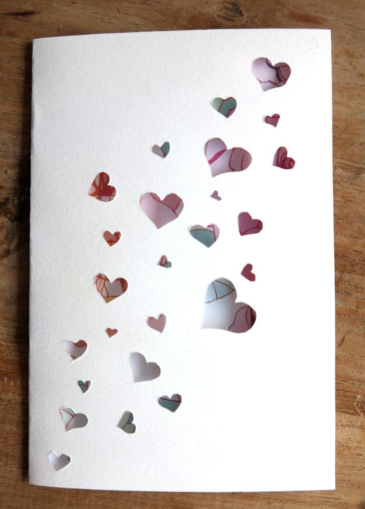 Valentines day greeting card (1) - Original handmade papercut card - I love you
