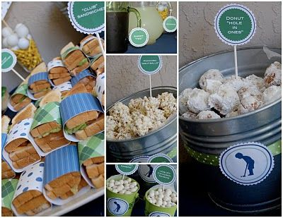 """Powdered Sugar Donut """"Hole in Ones""""  Popcorn """"Golf Balls"""" (made like rice krispy treats, but with popcorn, and i added in a little white chocolate too) """"Club"""" Sandwiches  Yogurt Covered Raisins Sweet """"Tee"""""""