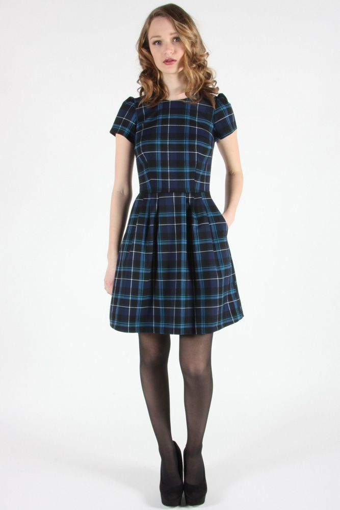 Woodnymph Dress Blue by Birds of North America. Lined plaid dress.