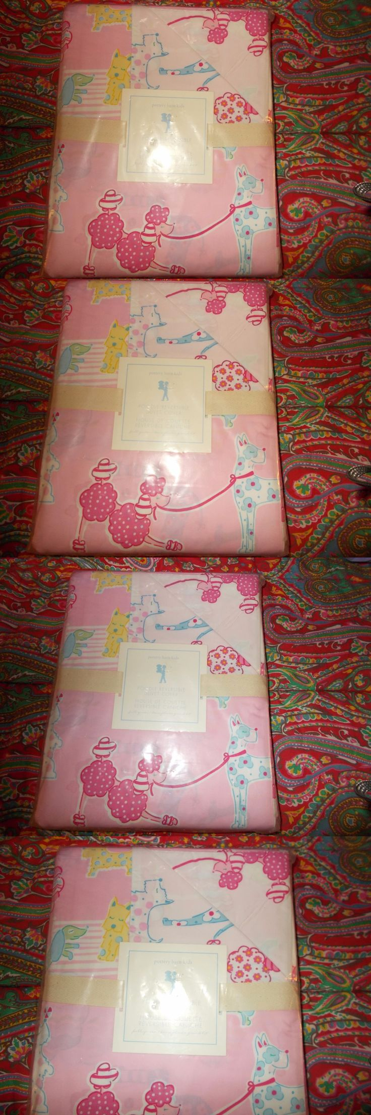 Kids Bedding: Pottery Barn Kids Poodle Reversible Duvet Cover, Full Queen, Pink, New -> BUY IT NOW ONLY: $66.39 on eBay!