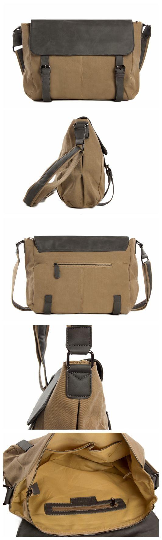 """Canvas Leather Messenger Bag Crossbody Shoulder Bag Waxed Canvas Bag 1131 Model Number: 1131 Dimensions: 14.9""""L x 3.1""""W x 11.8""""H / 38cm(L) x 8cm(W) x 30cm(H) Weight: 3.3lb / 1.5kg Hardware: Brass Hard"""