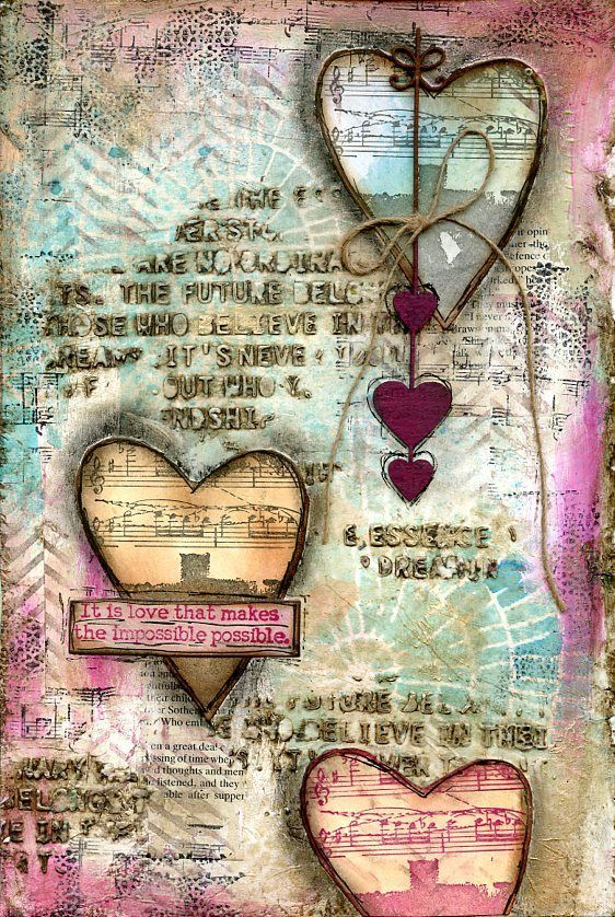 Impossible Possible art Journal page by Jill Wheeler using Scrap FX Words of Wisdom stencil, Circular Shawl stencil, chevron feather stamp and chipboard heart string. www.scrapfx.com.au