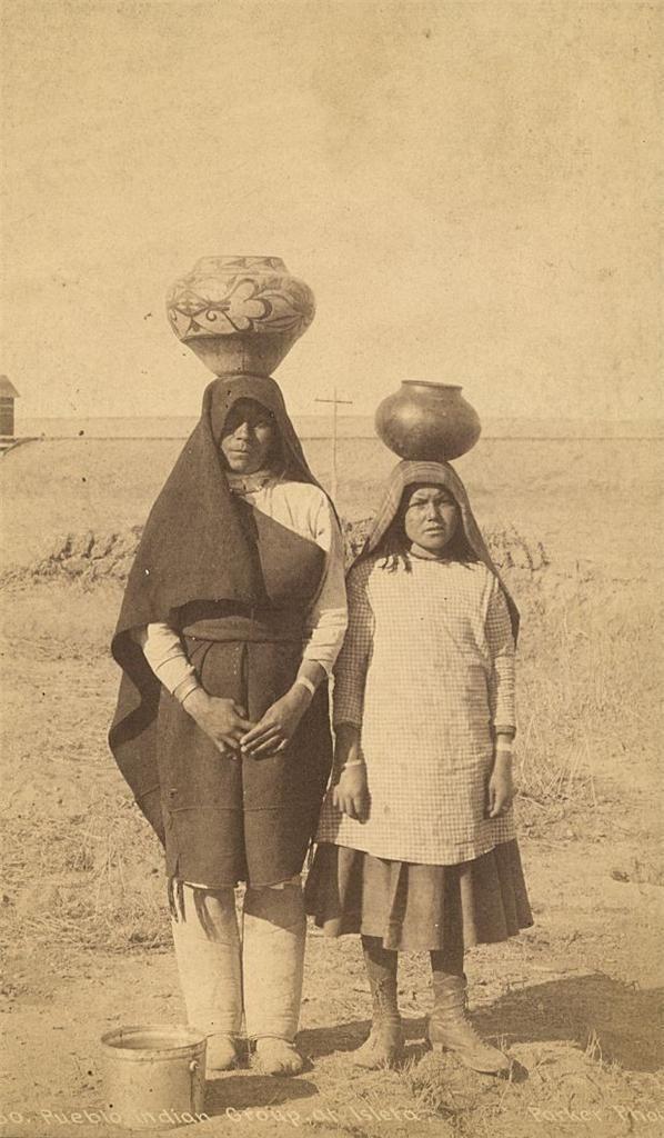 C 1880 Tiwa Indian Women Ballancing Pottery on Head Isleta Pueblo Territory