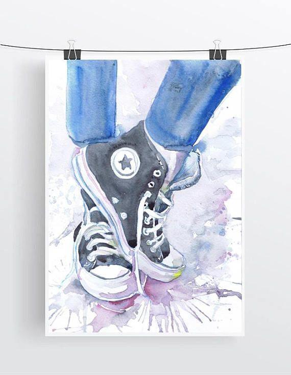 93c032de698ce Converse Art Print Shoes Watercolor Painting Fashion Illustration in ...