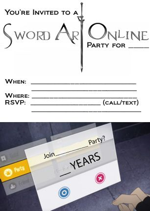 sword art online sao birthday party invitation back of card