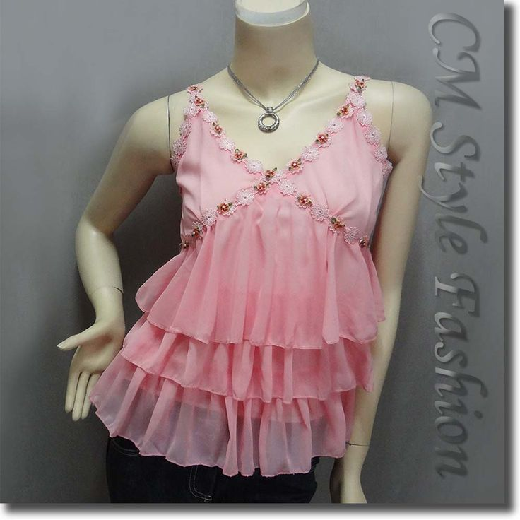 Cute Sexy Floral Detail Chiffon Tiered Camisole Tank Top Pink