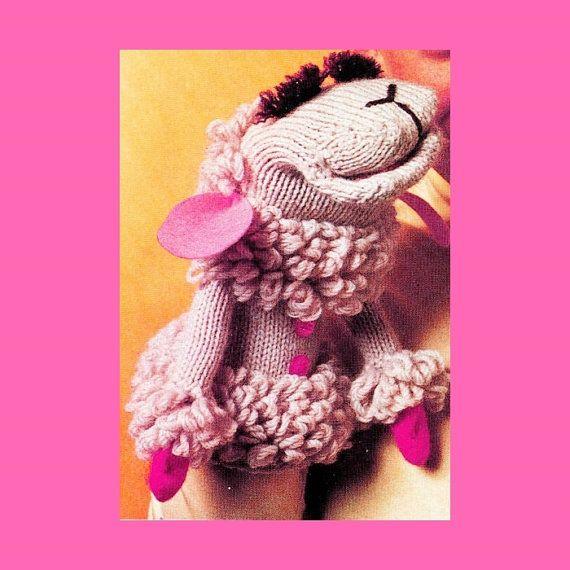 Vintage 70s LAMB Chop Hand Puppet - PDF Knitting - Crochet Pattern - PDF Instant Download - Lamb Animal Toy - Sheep Puppet Knitting Crochet