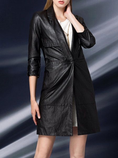 Buttoned Plain Sheath Street Biker Jacket