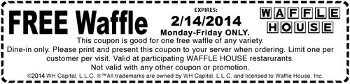 Waffle House coupons and discounts can help diners save money on their next visit to the restaurant. Percentages off savings and buy one, get one free (BOGO) deals are available inside select Entertainment Coupon Books. Customers can also access printable Waffle House coupons by signing up for the restaurant's free e-club. To know more, visit Best Free Stuff Guide. http://www.bestfreestuffguide.com/Free_Waffle_House_Coupons