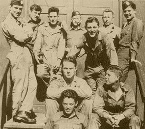 """Posing at Camp Toccoa. Top row fltr: Carwood Lipton-Cecil Page and Jim Alley (others unidentified) Middle row fltr: Kenneth Baldwin and Wayne Sisk Bottom: William """"Bill"""" Maynard."""