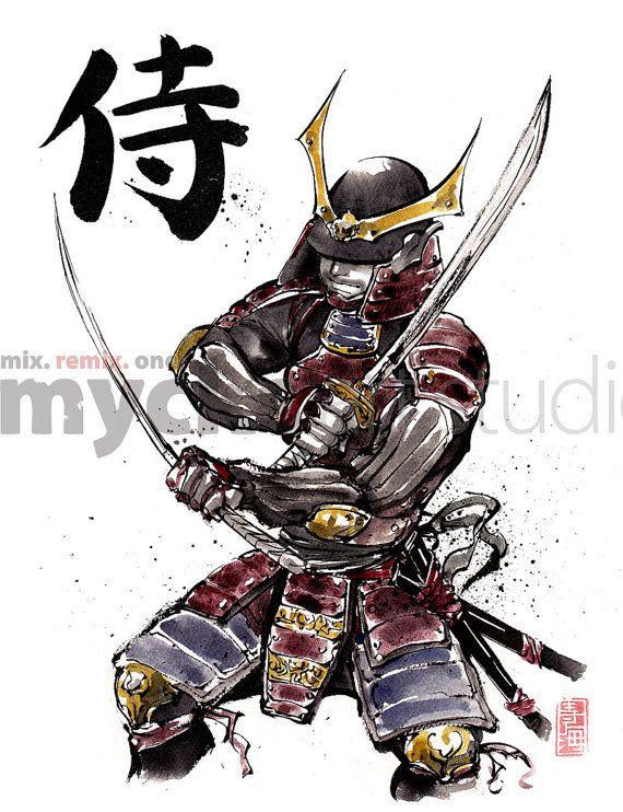 Caligrafía japonesa doble espadas SAMURAI de la armadura