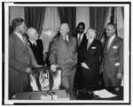 Channing Tobias, Arthur Spingarn, Pres. Dwight Eisenhower, Clarence Mitchell, Walter White, and Theodore Spaulding