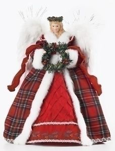 Roman Red Plaid Angel with Wreath Holiday Christmas Tree Topper | eBay
