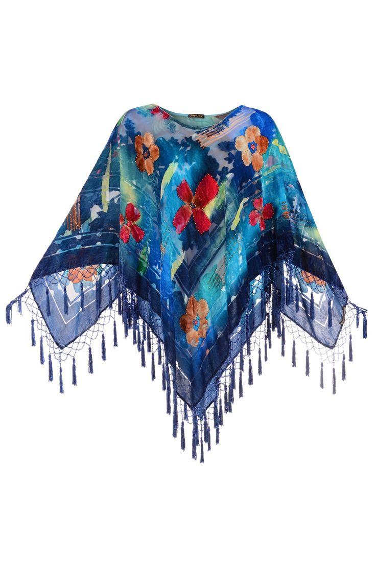 Jayley Silk Devore Poncho Blue