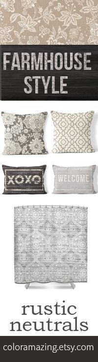 farmhouse style pillow cover and shower curtains in gray and neutral colors make adding a little rustic decor to your home very easy. Love these colors