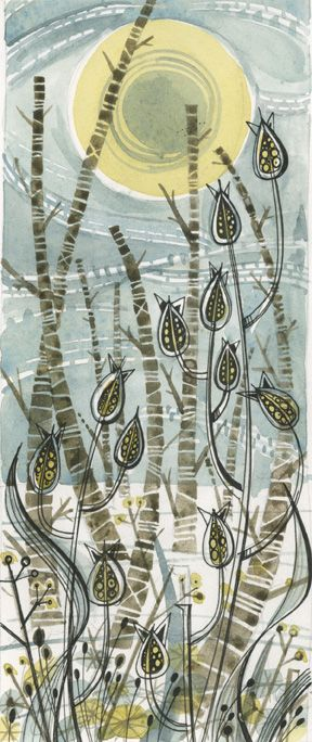 Angie Lewin - Winter Birches - original watercolour drawing