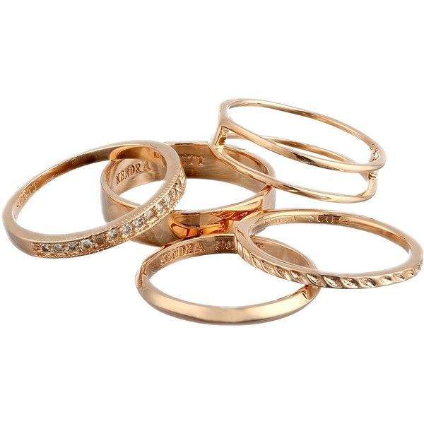 Kendra Scott Kara Ring/Midi Set (Rose Gold) Ring found on Polyvore featuring jewelry, rings, gold, midi rings, rose gold jewelry, stackable midi rings, red gold ring and 14k ring