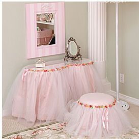 girls pink ballerina vanity bedroom nursery decor table