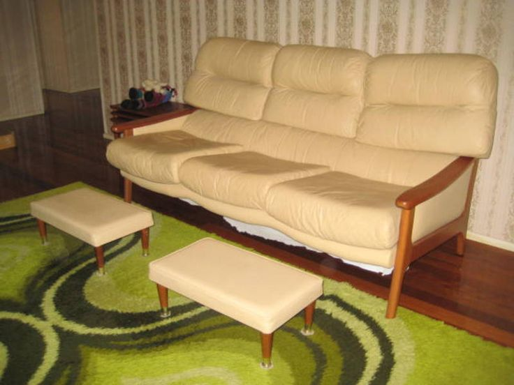 1970u0027s leather lounge and foot stools the gap brisbane north west image 2