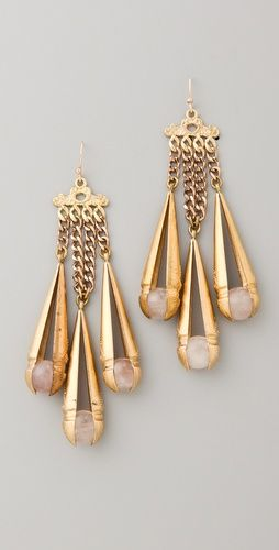 Lulu Frost antiqued brass dangle earrings feature rose quartz spheres at the textured drops.