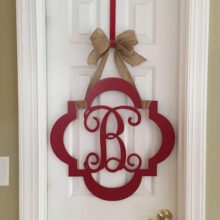 Monogram Door Hanger, Painted Wood Letter Wreath, Monogram Wreath, Hand Painted Wood Door Hanger, Letter Door Hanger, Door Decor, Initial by SnappyPea on Etsy https://www.etsy.com/listing/575156665/monogram-door-hanger-painted-wood-letter