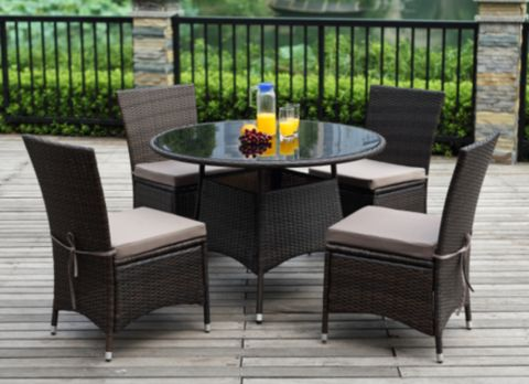 Marceau 5 Piece Patio Rattan Garden Dining Set with 4 pillows was R6999.00 now only R4599.00