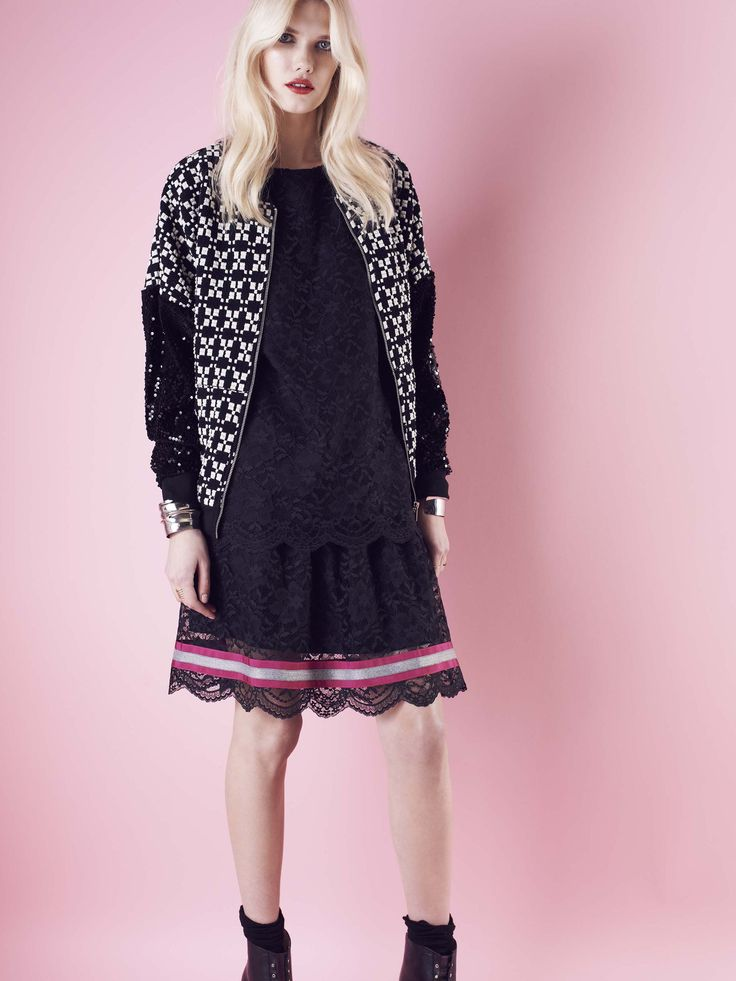 Model wears Naughty Dog #FW1415 lace #dress and black and white jacquard #cardigan.