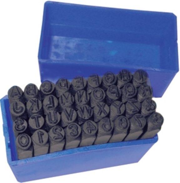 Metalen slagletters en -cijfers voor leerbewerking, letterhoogte 4 mm, 36 delig