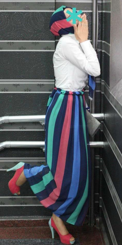 striped maxi skirt #Hijabi #Style #fashion #hijab