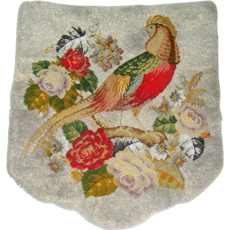 Fabulouse Antique beadwork banner with bird and flowers