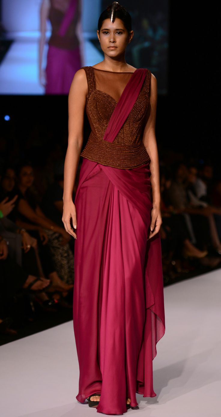 Wine pre-draped sari available only at Pernias pop-up shop.