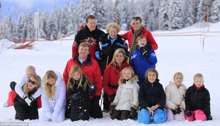The Dutch royal family have come together to honour their traditional holiday in Lech. Top L-R: Prince Constantjin, Princess Beatrix, Princess Laurentien. Middle L-R: King Willem-Alexander, Queen Maxima, Count Claus-Casimir. Front L-R: Princess Mabel with daughter Countess Zaria, Princess Catharina-Amalia, Princess Alexia, Princess Ariane, Countess Leonore, Countess Eloise, Countess Luana