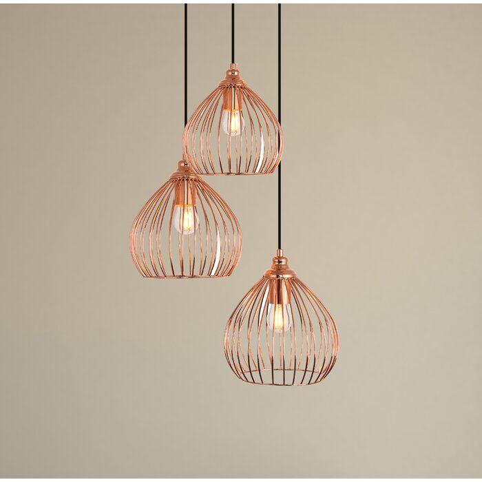 Mullin 3 Light Cluster Pendant Reviews Joss Main Copper Pendant Light Fixture Copper Pendant Lights Copper Light Fixture