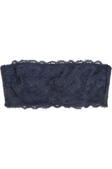 Cosabella - Flirtie Cotton-blend Lace Bandeau Bra - Navy -