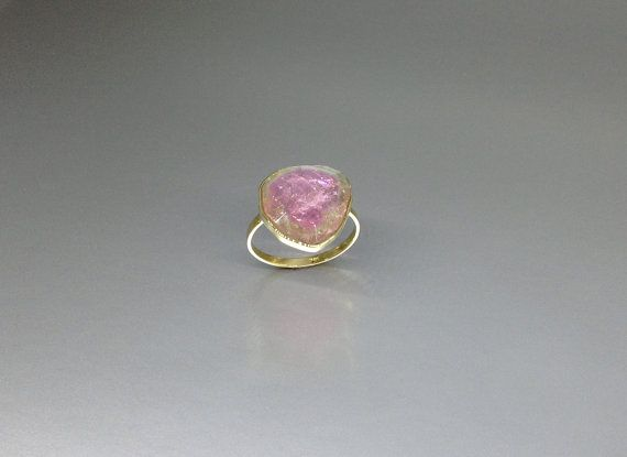 Exquisite watermelon Tourmaline ring set in 18K gold by gemoryprague. Explore more products on http://gemoryprague.etsy.com