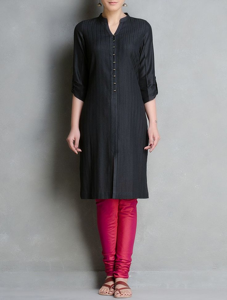 Buy Black Pintuck Cotton Katan Silk Kurta with Rolled Sleeve Detail Apparel Tunics & Kurtas Surprise! Contemporary in Matka Ghicha Online at Jaypore.com