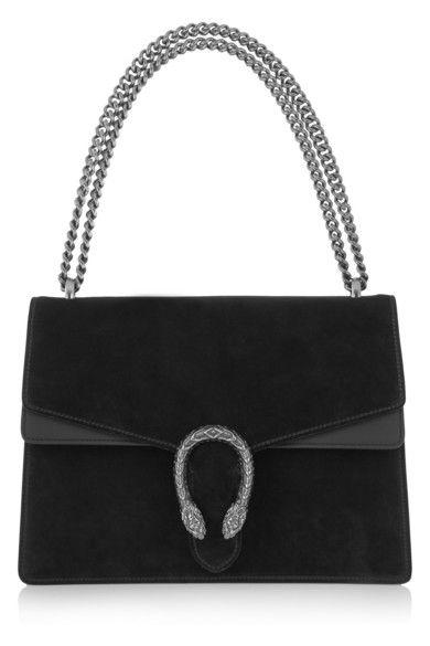 Gucci | Dionysus medium suede and leather shoulder bag | NET-A-PORTER.COM