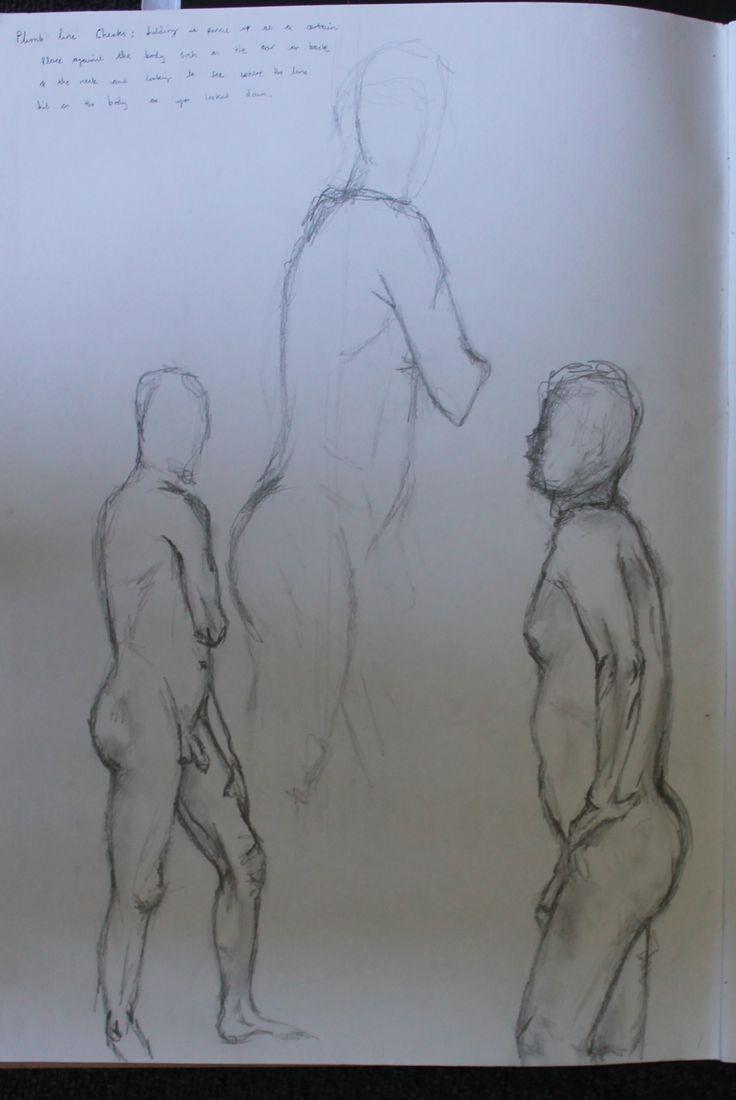 Life drawing, plum line checks