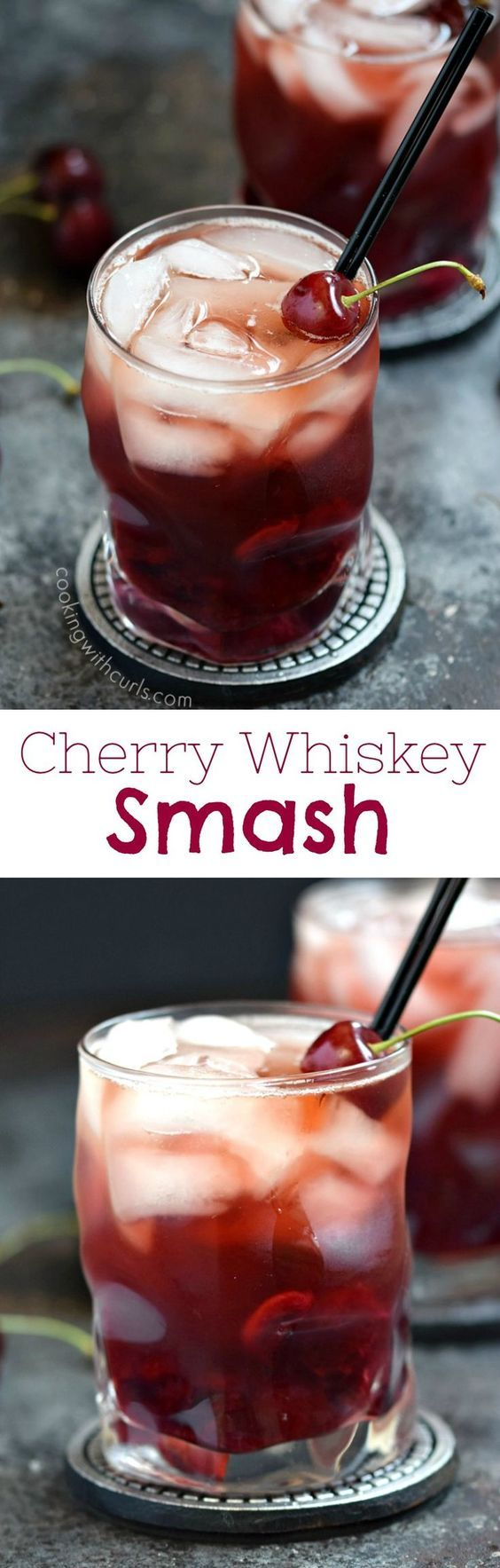 This Cherry Whiskey Smash is perfect for summer using fresh cherries, winter in front of a fireplace, and shared with someone special on Valentine's Day | cookingwithcurls.com #feastndevour